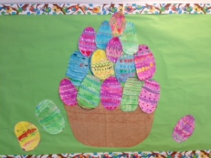 We used pastels to pattern our eggs, and then we gave them a watercolour wash.