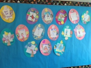 We completed our monthly self-portraits with an Easter theme.