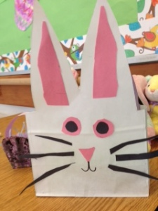 We made bunny baskets with our Grade 7 Buddies.